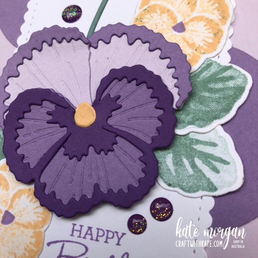 Farewell Purple Posy, Pansy Patch by Kate Morgan Stampin Up Australia 2021 close up