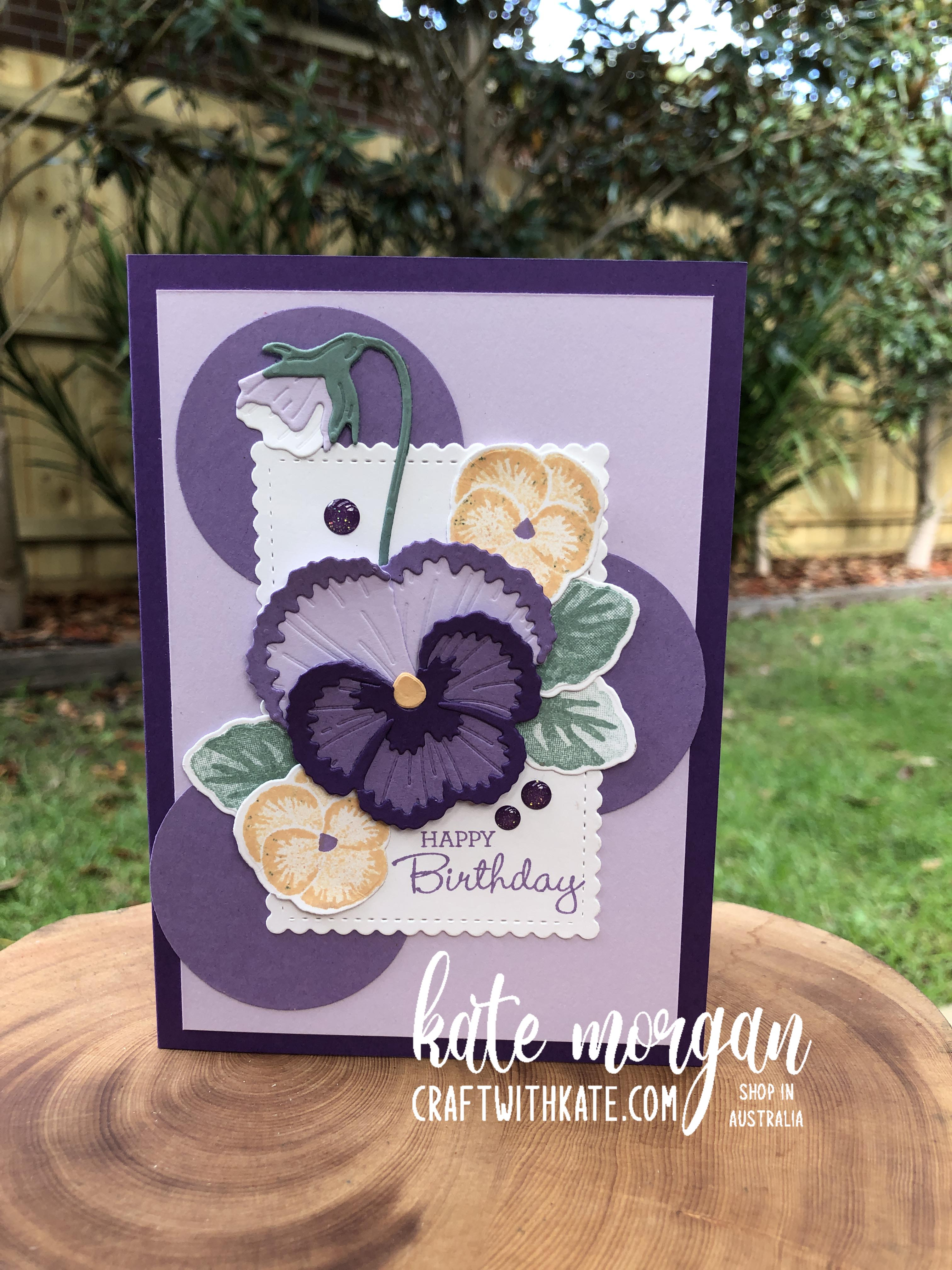 Farewell Purple Posy, Pansy Patch by Kate Morgan Stampin Up Australia 2021