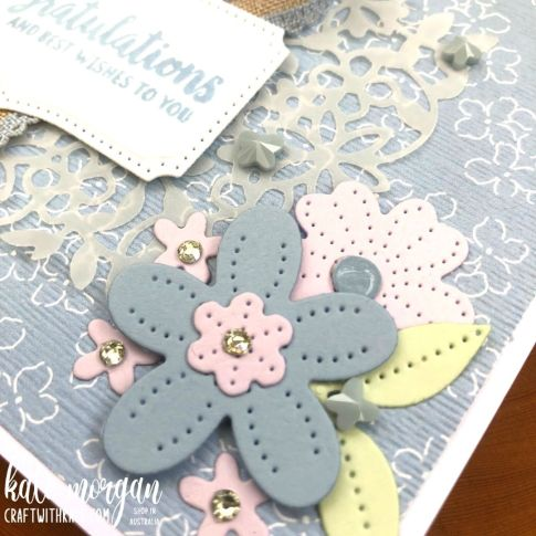 Pierced Blooms in Seaside Spray Feminine card by Kate Morgan, Stampin Up Australia 2021