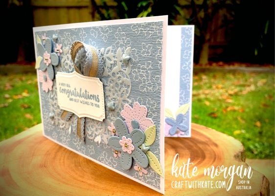 Pierced Blooms Seaside Spray Feminine card by Kate Morgan, Stampin Up Australia 2021.