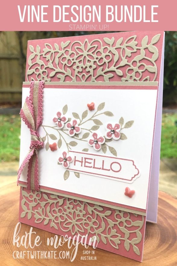 Vine Design Sahara Sand Feminine card by Kate Morgan, Stampin Up Australia 2021