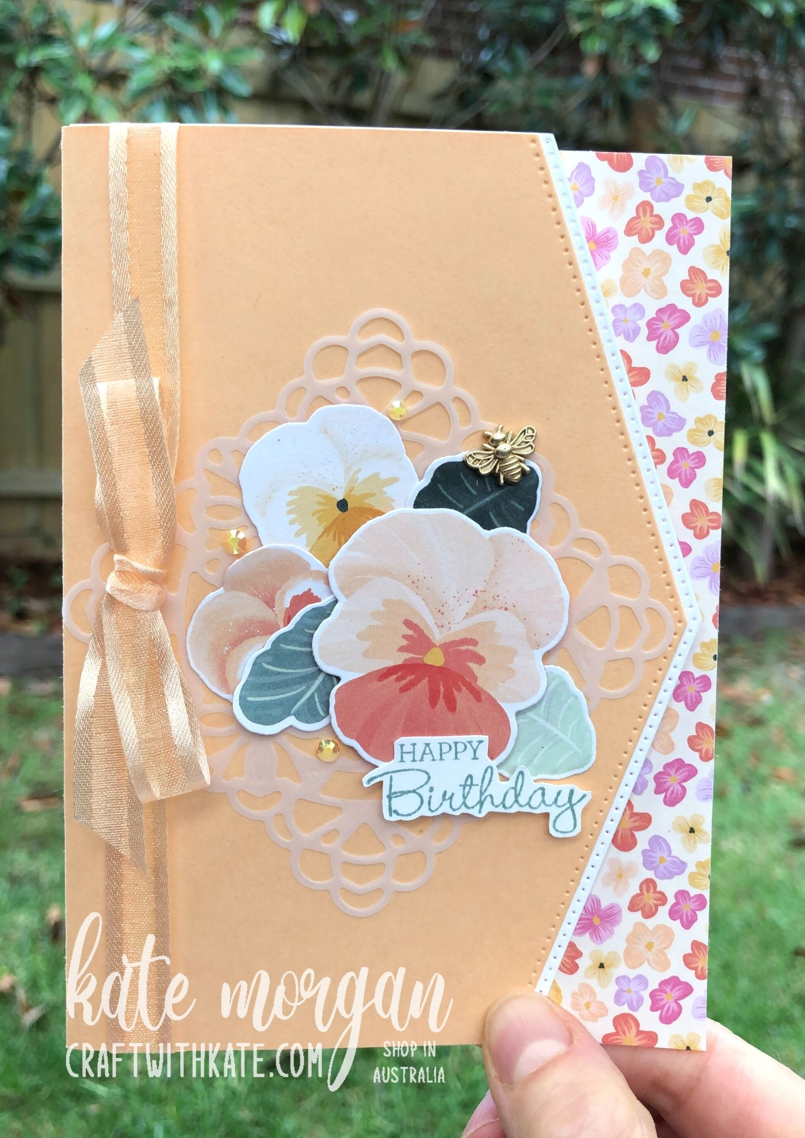 Pale Papaya Pansy Patch & Border dies by Kate Morgan Stampin Up Australia 2021