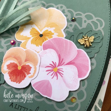 Soft Succulent Pansy Patch & Border dies by Kate Morgan Stampin Up Australia 2021 close up