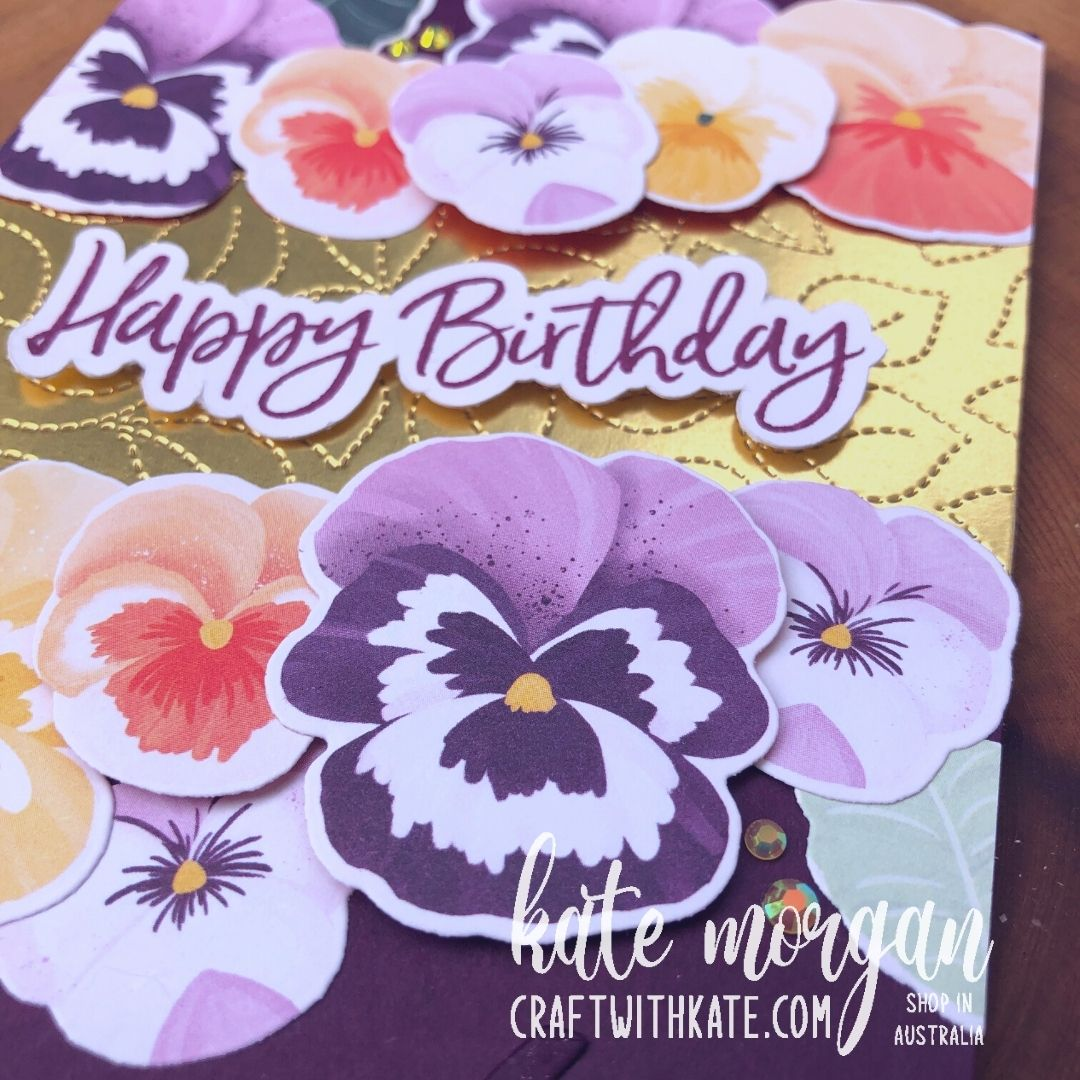 60th birthday cards using Pansy Petals for Blackberry Bliss CCBH 2021 by Kate Morgan Stampin Up Australia square