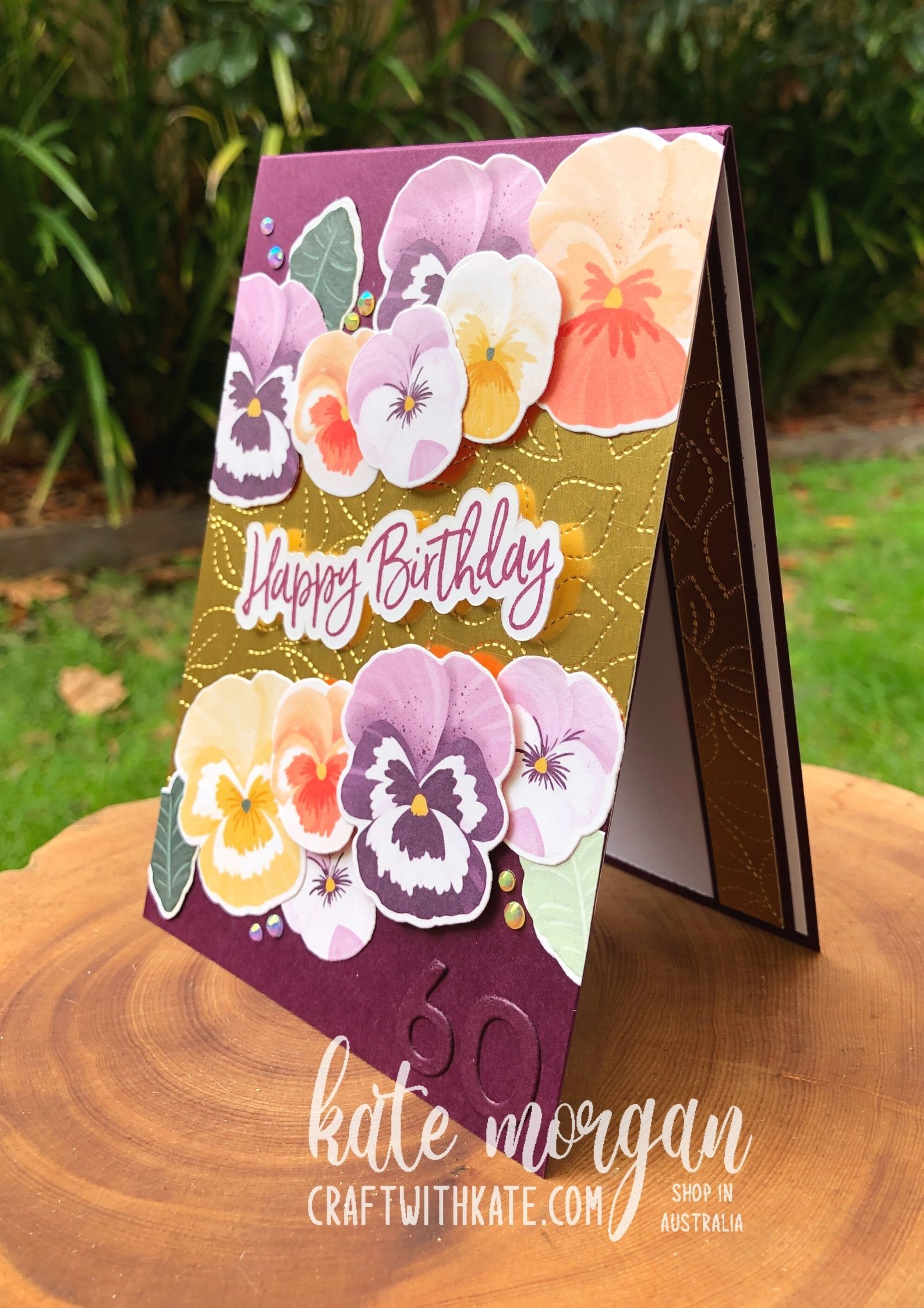 60th birthday cards using Pansy Petals for Blackberry Bliss CCBH 2021 by Kate Morgan Stampin Up Australia.