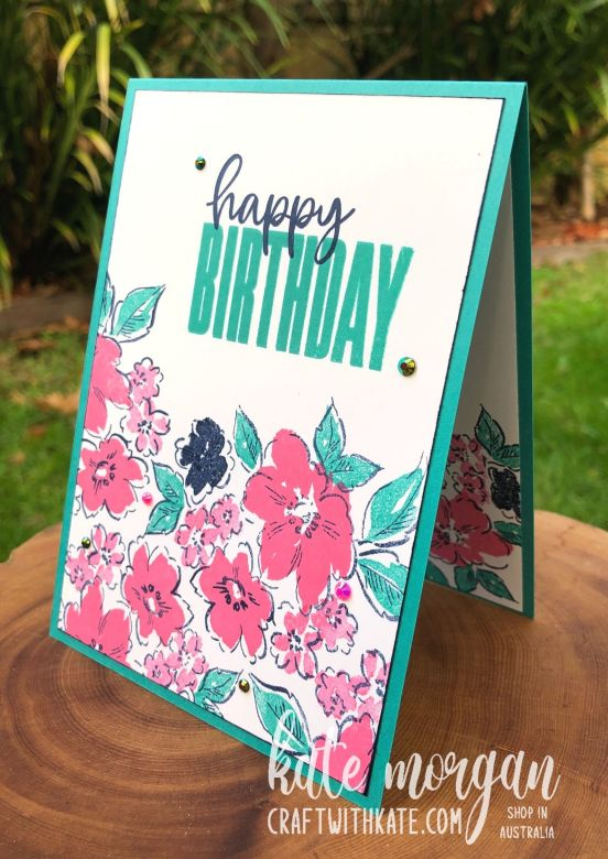 Hand-Penned Petals & Biggest Wish single layer card #simplestamping by Kate Morgan, Stampin Up Australia 2021.