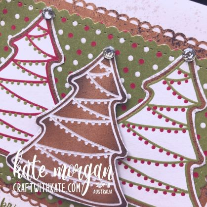 Gingerbread & Peppermint Suite, Stampin Up 2021 by Kate Morgan, Australia trees