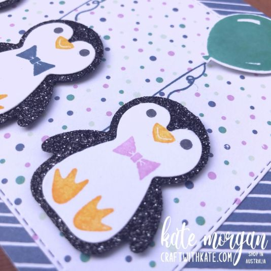 Glittered Birthday Penguins, Stampin Up 2021 by Kate Morgan, Australia close up