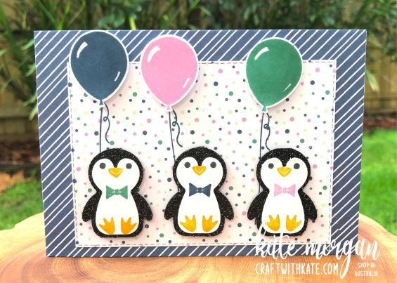 Glittered Birthday Penguins, Stampin Up 2021 by Kate Morgan, Australia