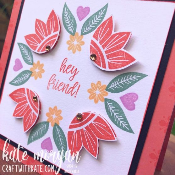 In Symmetry card for CCBH Calypso Coral by Kate Morgan, Stampin Up Australia 2021 close up