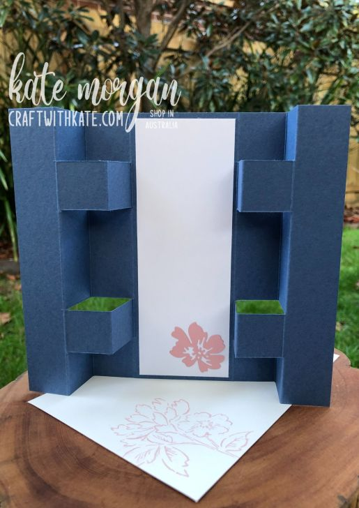 Panel Tower Fold Card using Hand-Penned Petals by Kate Morgan, Stampin Up Australia 2021 back