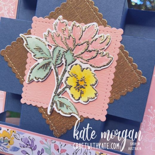 Panel Tower Fold Card using Hand-Penned Petals by Kate Morgan, Stampin Up Australia 2021 close up