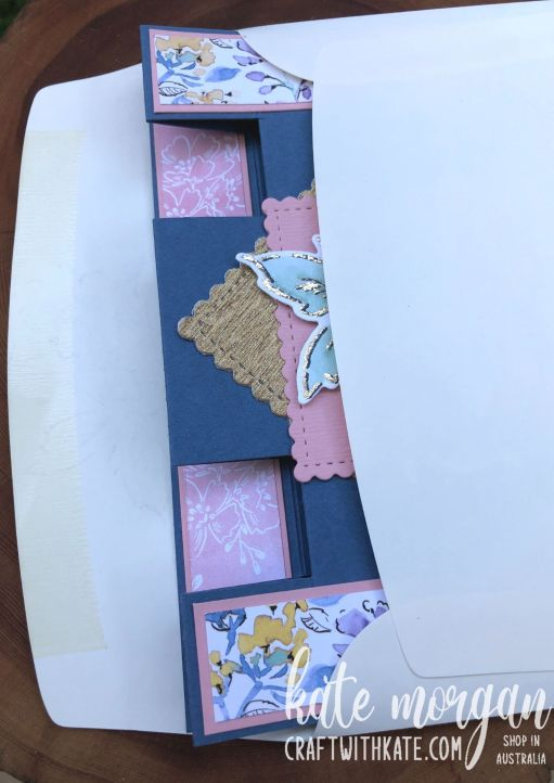 Panel Tower Fold Card using Hand-Penned Petals by Kate Morgan, Stampin Up Australia 2021 envelope