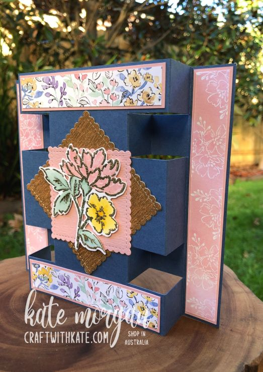 Panel Tower Fold Card using Hand-Penned Petals by Kate Morgan, Stampin Up Australia 2021 side