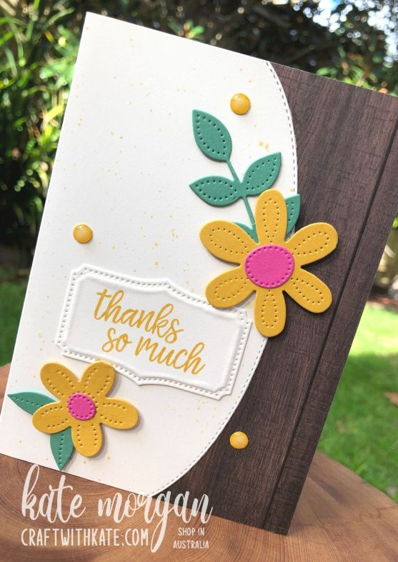 Pierced Blooms & Basic Borders Dies card for CCBH Bumblebee by Kate Morgan, Stampin Up Australia 2021.