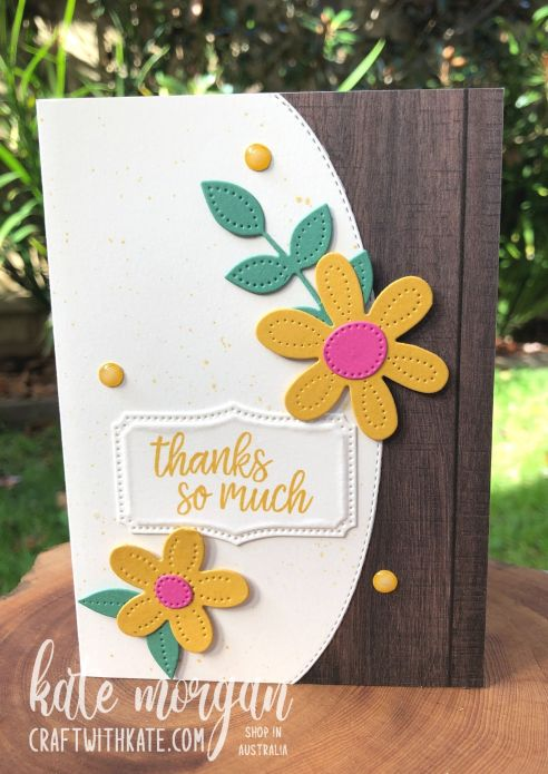 Pierced Blooms & Basic Borders Dies card for CCBH Bumblebee by Kate Morgan Stampin Up Australia 2021.