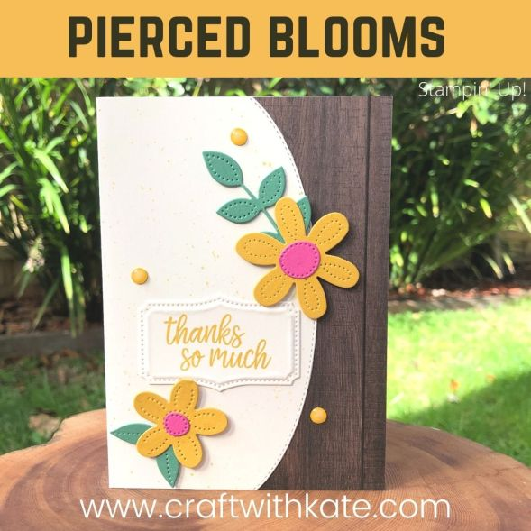 Pierced Blooms & Basic Borders Dies card for CCBH Bumblebee by Kate Morgan, Stampin Up Australia 2021