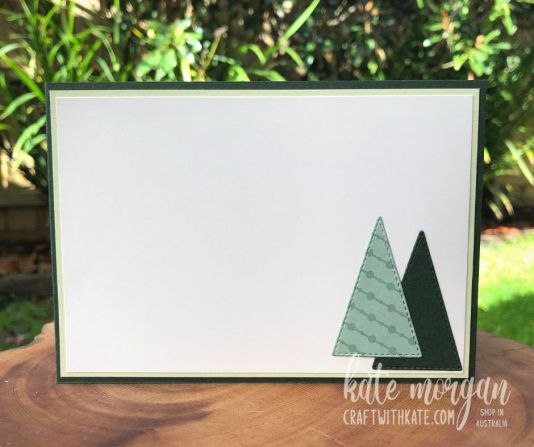 Stitched Triangle Trees card for HOC blog hop by Kate Morgan, Stampin Up Australia 2021 inside