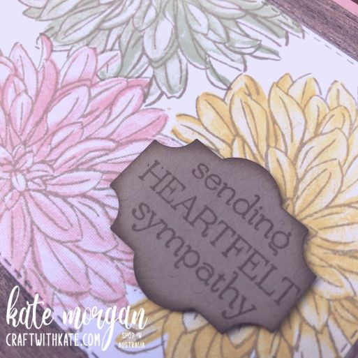 Delicate Dahlias Sympathy Card SAB Stampin Up 2021 by Kate Morgan, Australia closeup