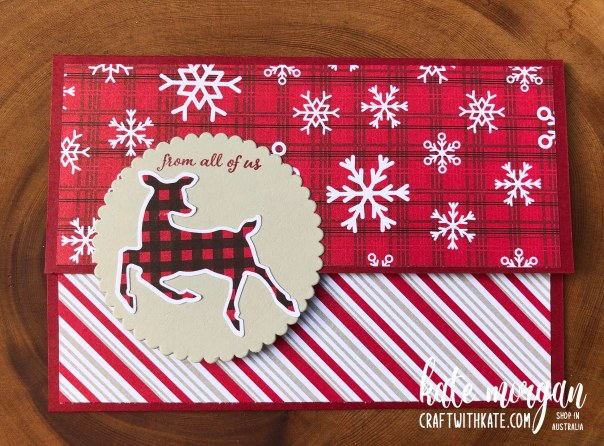 Peaceful Deer Pocket Card for Cherry Cobbler CCBH by Kate Morgan, Stampin Up Australia Christmas 2021