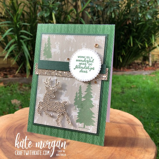 Peaceful Deer Quick Card 1 HOC by Kate Morgan, Stampin Up Australia Christmas 2021