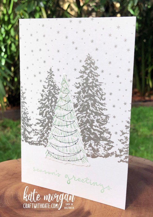 Peaceful Place DSP & Whimsical Trees card by Kate Morgan Stampin Up Australia 2021 front