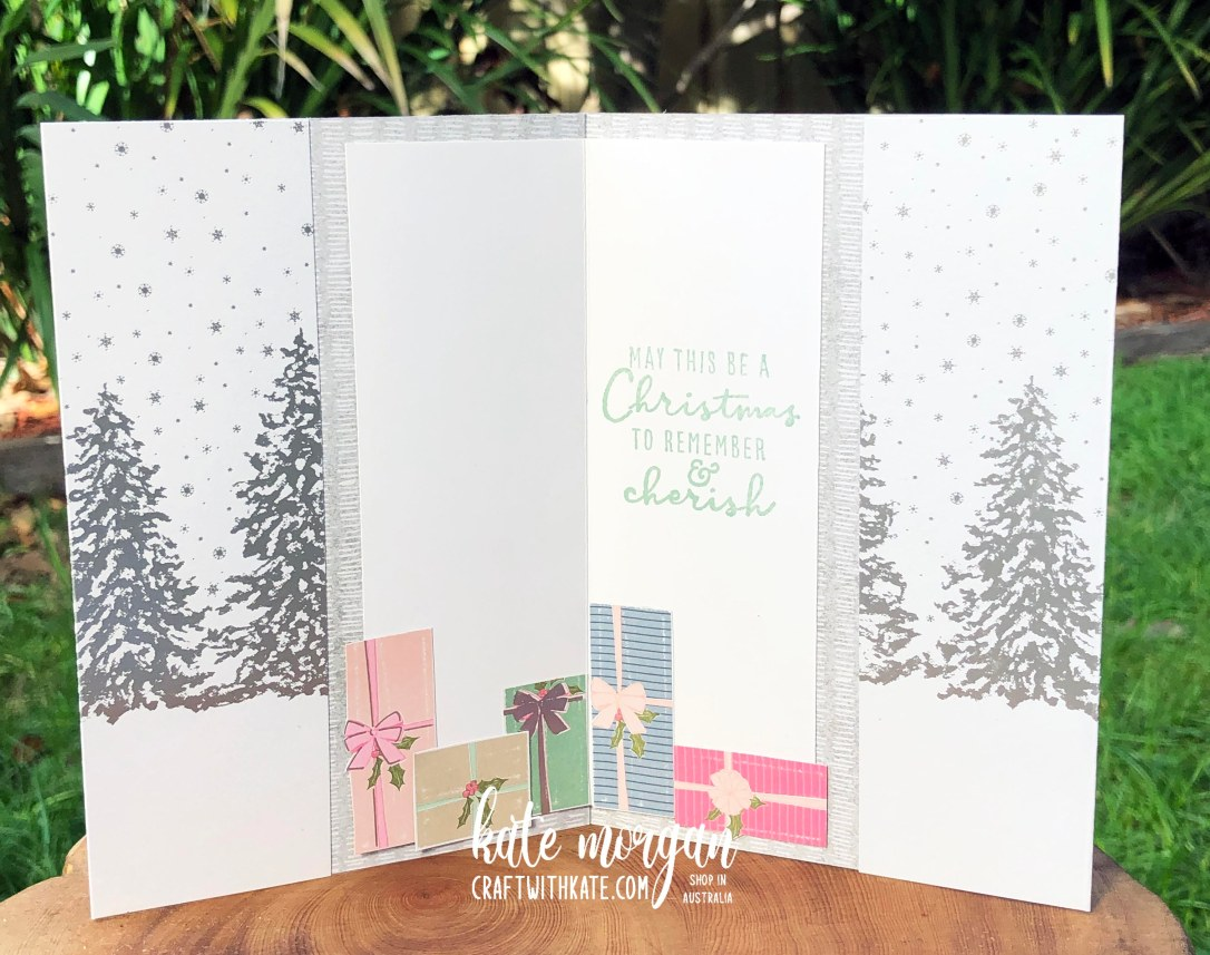 Peaceful Place DSP & Whimsical Trees card by Kate Morgan Stampin Up Australia 2021 open