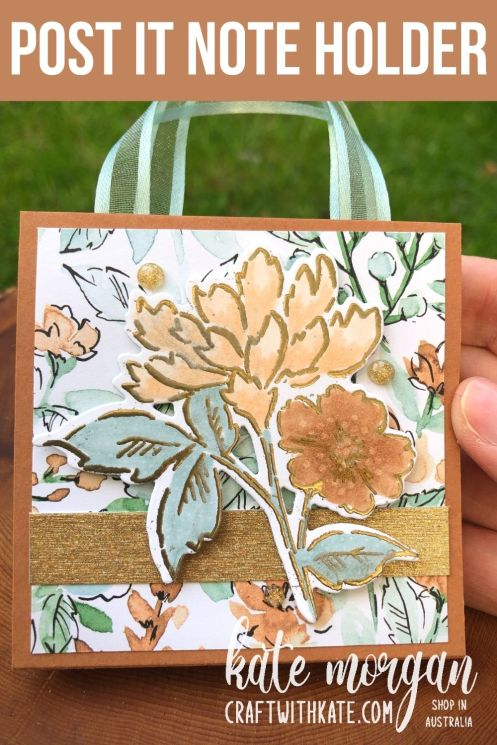 Post It Note Holder using Hand-Penned Bundle for Cinnamon Cider CCS by Kate Morgan, Stampin Up Australia 2021