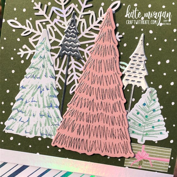 Whimsy and Wonder Christmas Card by Kate Morgan, Stampin Up Australia 2021 close up