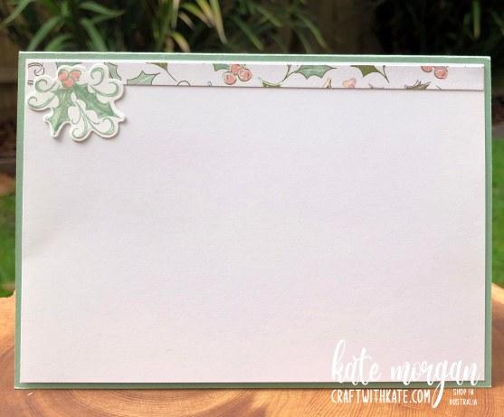 Whimsy & Wonder DSP meets Peaceful Deer Handmade Christmas Card HOC by Kate Morgan, Stampin Up Australia Christmas 2021 inside