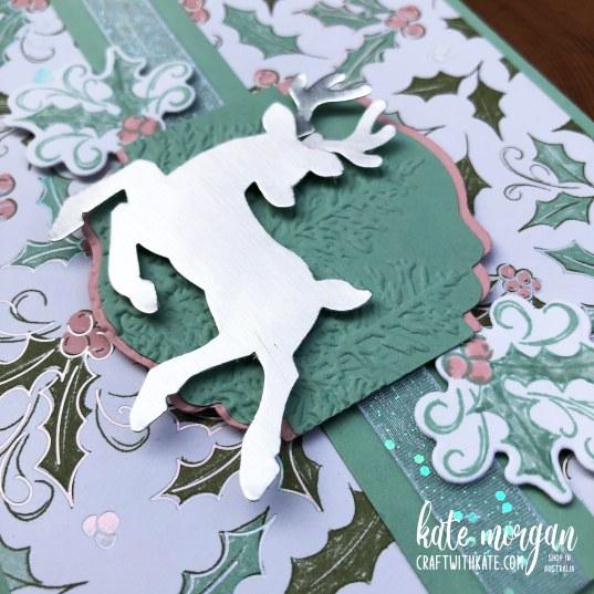 Whimsy & Wonder DSP meets Peaceful Deer Handmade Christmas Card HOC by Kate Morgan, Stampin Up Australia Christmas 2021.