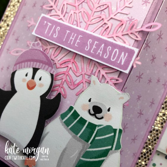 Bay Window Fancy Fold card using Penguin Playmates DSP Saleabration 2021 by Kate Morgan Stampin Up Australia close up