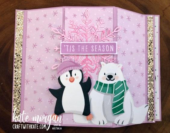 Bay Window Fancy Fold card using Penguin Playmates DSP Saleabration 2021 by Kate Morgan Stampin Up Australia flat