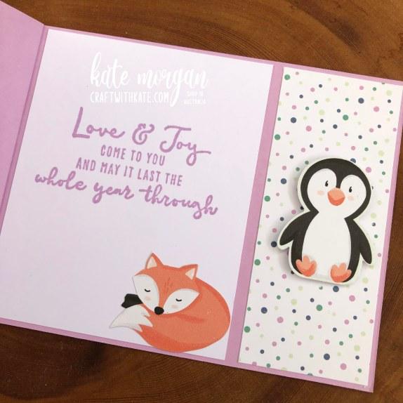 Bay Window Fancy Fold card using Penguin Playmates DSP Saleabration 2021 by Kate Morgan Stampin Up Australia inside