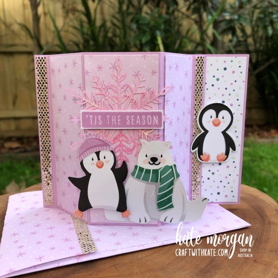 Bay Window Fancy Fold card using Penguin Playmates DSP Saleabration 2021 by Kate Morgan Stampin Up Australia sq