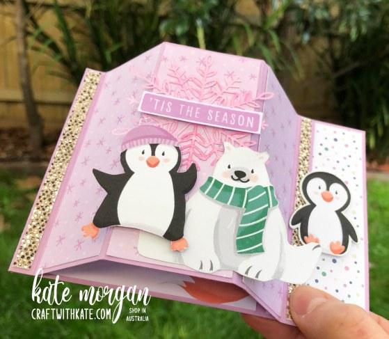 Bay Window Fancy Fold card using Penguin Playmates DSP Saleabration 2021 by Kate Morgan Stampin Up Australia tilt