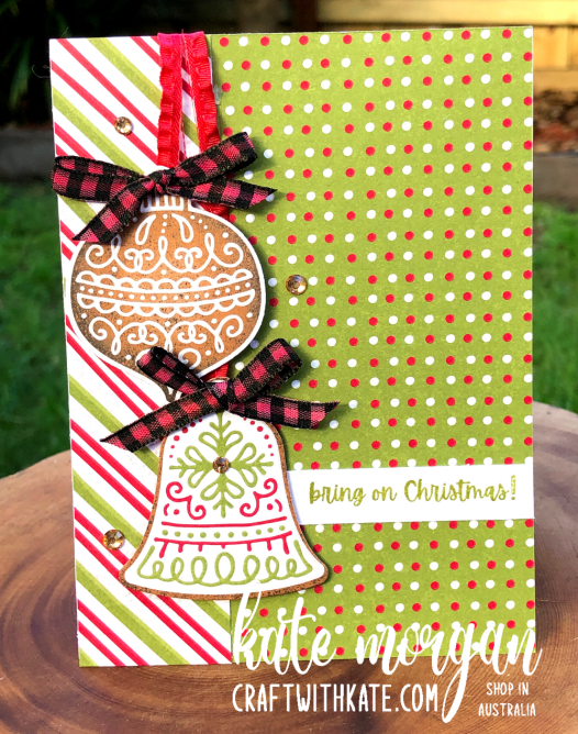 Gingerbread & Peppermint Christmas Card 2 by Kate Morgan, Stampin Up Australia 2021