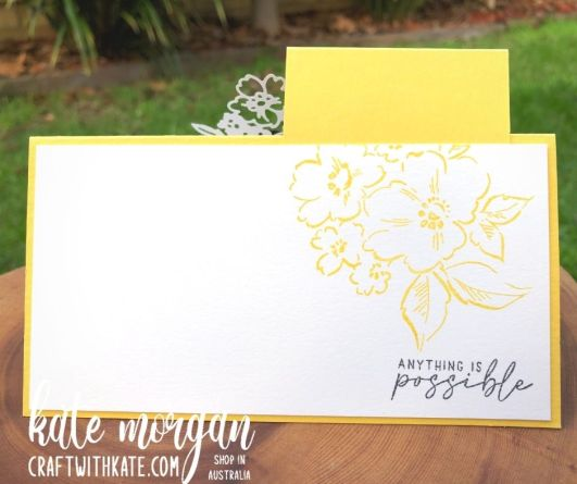 Inlay Technique Fancy Fold card using Hand-Penned Bundle for Daffodil Delight CCS by Kate Morgan, Stampin Up Australia 2021 back