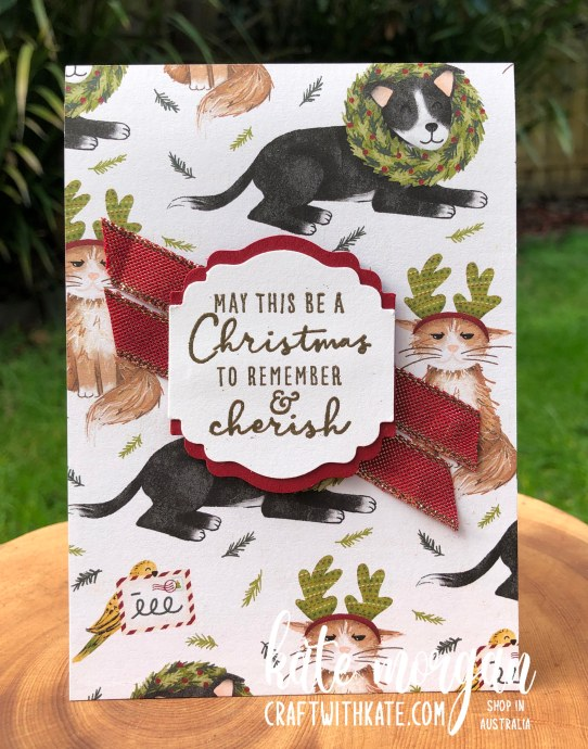 Sweet Stockings DSP Handmade Christmas Card 2 HOC by Kate Morgan, Stampin Up Australia Christmas 2021