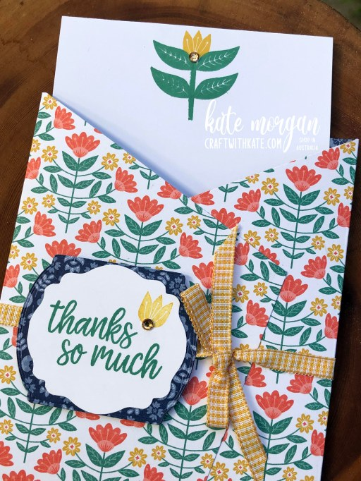 Sweet Symmetry card by Kate Morgan, Stampin Up Australia 2021 open