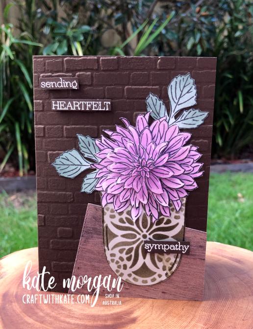 Sympathy card using Delicate Dahlias SAB by Kate Morgan Stampin Up Australia 2021