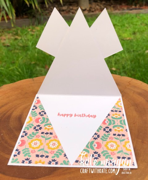 Triple Point Fancy Fold card using Sweet Symmetry DSP 2021 by Kate Morgan Stampin Up Australia inside