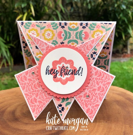Triple Point Fancy Fold card using Sweet Symmetry DSP 2021 by Kate Morgan Stampin Up Australia standing